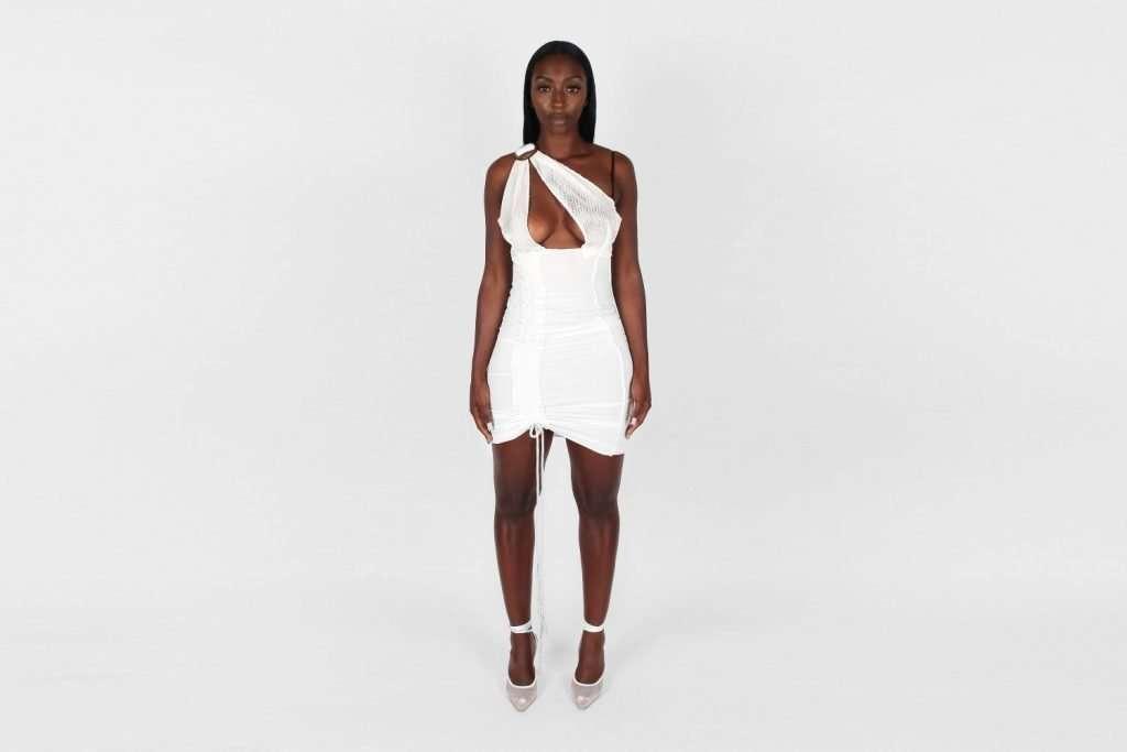 loudbrandstudios white cut-out mini dress